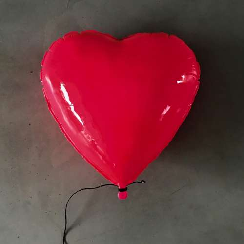 Neon Pink Heart Balloon Sculpture